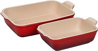 Le Creuset Heritage Cerise Cherry Stoneware Rectangular Baking Dish, Set of 2