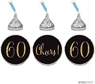 Andaz Press Gold Glitter Print Chocolate Drop Labels Stickers, Cheers 60, Happy 60th Birthday, Anniversary, Reunion, Black, 216-Pack, Not Real Glitter, for Hershey's Kisses Party Favors