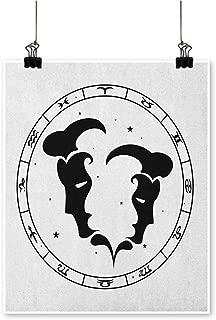 HouseDecor Zodiac Gemini,Canvas 3D Artwork Zodiac Wheel with Twelve Signs Abstract Male Portraits with Stars Tattoo W16 xL20 Canvas Print Panels