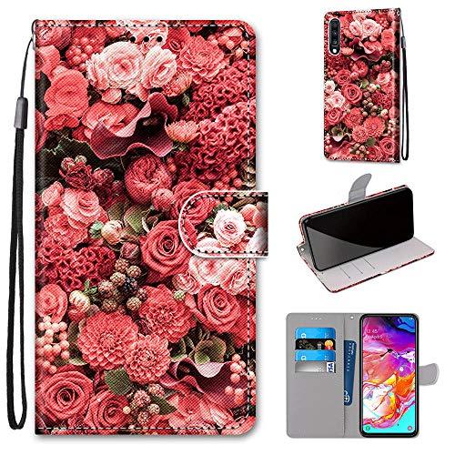 Miagon Flip PU Leder Schutzhülle für Samsung Galaxy A70,Bunt Muster Hülle Brieftasche Case Cover Ständer mit Kartenfächer Trageschlaufe,Rose