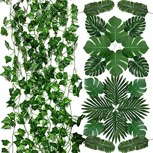 PietyPet 6 Strands Artificial Ivy Leaf Plants Vine Garland and 39 Pieces Artificial Palm Leaves, Jungle Monstera Leaves Safari Leaves for Hawaiian Luau Party Jungle Beach Table Leave Decorations