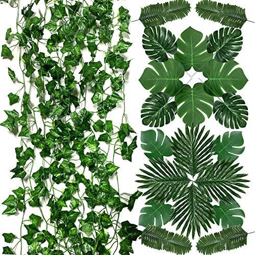 PietyPet Hiedra Hojas de Vid Artificial y Hojas de Palma Artificiales, Verde Plantas Artificiales, Falso Hojas de Monstera con tallos para Luau, Fiestas Decoraciones Eventos, Bodas, Hawaiano
