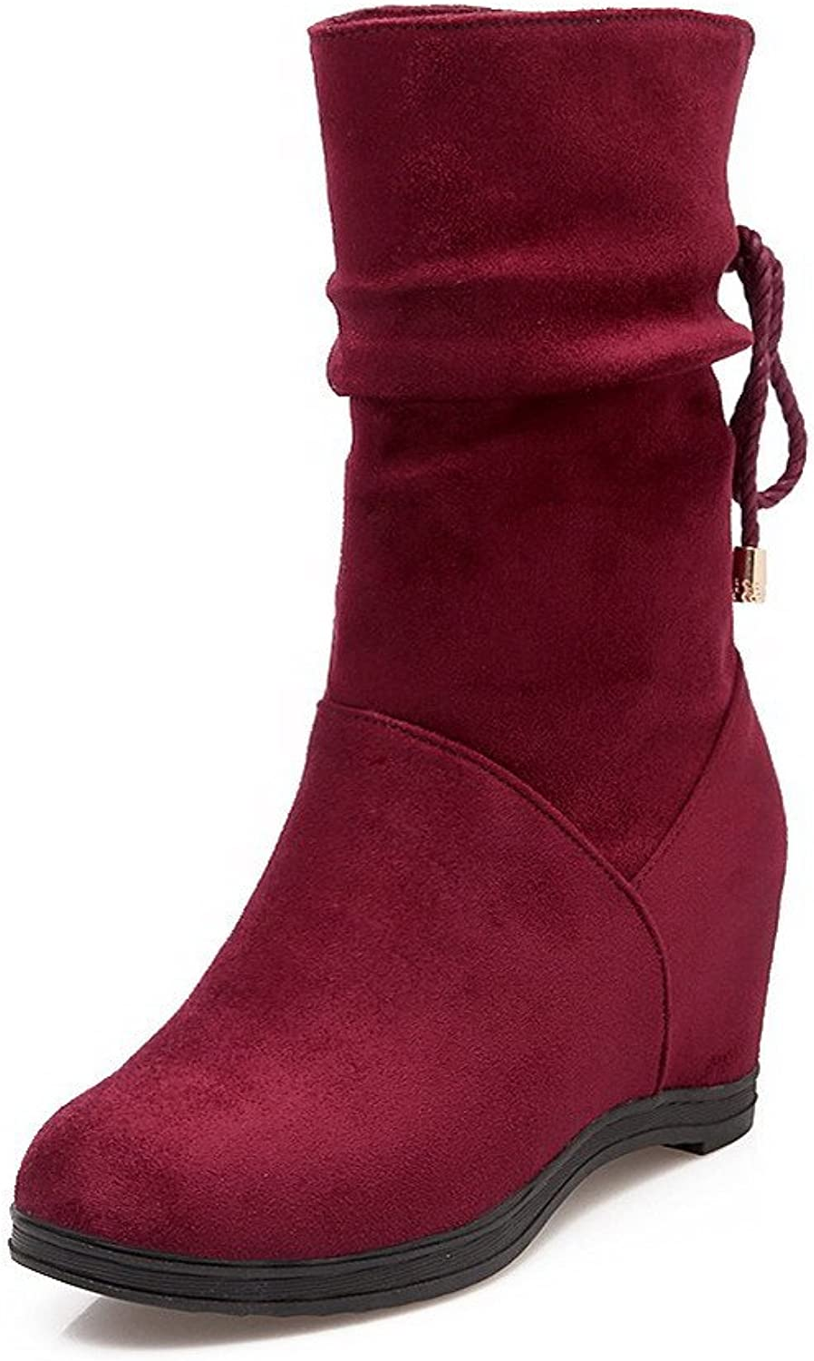 AllhqFashion Women's Mid Top Lace up High Heels Round Closed Toe Boots