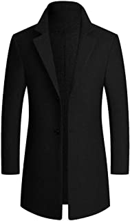 SANFASHION 2020 Newest Mens Trench Coat Slim Fit Notched Collar Winter Long Jacket Long Sleeve Regular Fit Lightweight Ele...
