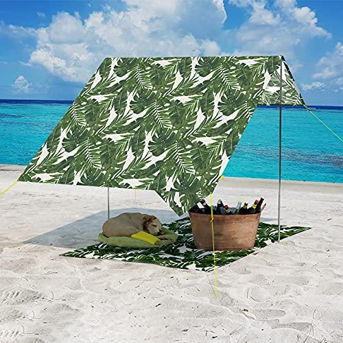 LVTXIII Tienda de campaña de playa portátil, protección UV con 3 postes de aluminio plegables, 4 clavijas de tierra, sombra al aire libre para la playa, senderismo, viajes de camping o diversión en el patio trasero (4.7 x 6.5 F, palma verde)