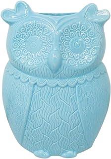 Aqua Blue Owl Kitchen Décor Utensil Holder by Trademark Innovations