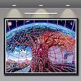 XIANRENGE Leinwanddrucke,Psychedelic Abstrakten Baum Welt Hd-Drucken Poster Und Drucke Wand Kunst Leinwand Gemälde Für Wohnzimmer Schlafzimmer Haus Dekor Bild, 80 × 120 cm Ungerahmt