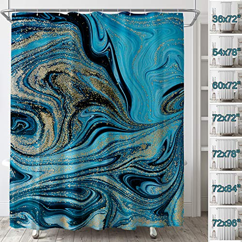 LEMOISTARS Abstract Fabric Shower Curtain Ombre Ink Art Marble Painting Bathroom Shower Curtain Machine Washable Waterproof Heavy Weighted Bath Curtains with 12 Hooks 72x72''
