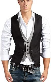 Veste De Costume Pour Hommes Cut out V Loisirs Fts Gilet False 2 Pièces Sans Manches Slim Fit Vest