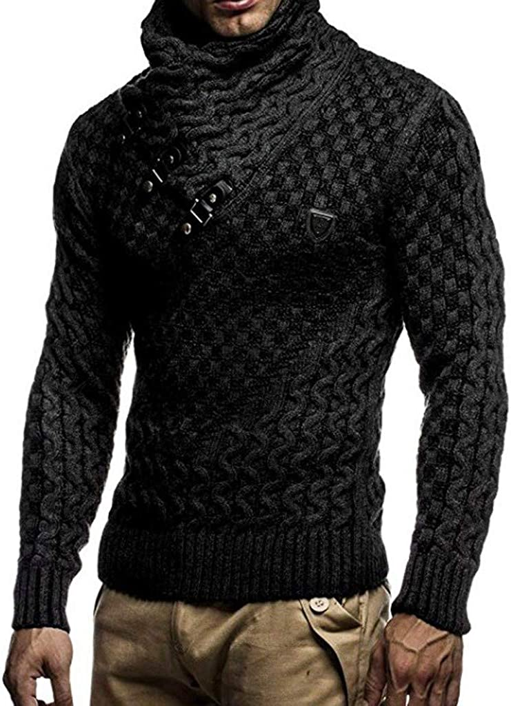 MODOQO Men's Slim Fit High Neck Knitted Sweater Long Sleeve Solid Winter Warm Soft Coat