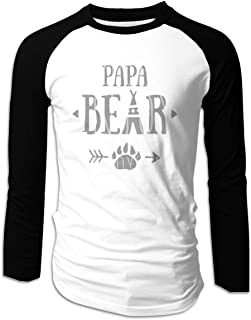 Eyscar Men's Logo of Papa Bear Cotton Baseball Raglan Full T-Shirts