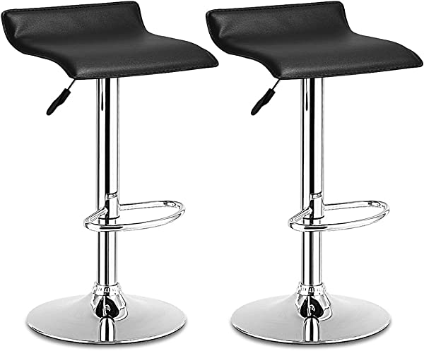 COSTWAY Set Swivel Bar Stools Adjustable Contemporary Modern Design Chrome Hydraulic PU Leather Backless Dining Chairs Set Of 2 Black