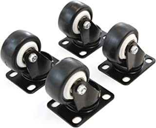 Red Hound Auto Set of 4 Caster Wheels 2 Inches Heavy Duty Set All Swivel Plate Non Marking Skid Resistant Black Wheels