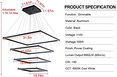 MADEM Modern Square LED Pendant 4 Ring Chandeliers Dimmable Pedant Light Contemporary Chandelier Adjustable Pendant Ceiling L