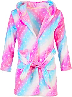 Kids Robe Girls Soft Fleece Hooded Bathrobe Robe Sleepwear for Girls