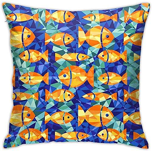 July Kussensloop met gouden vissen en zeewier verborgen ritssluiting sluiting kussensloop voor home, sofa, slaapkamer, huis, party