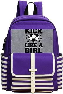 Mini School Backpack For Kindergarten Boy Girl,Print Play Soccer Like Girl,Purple