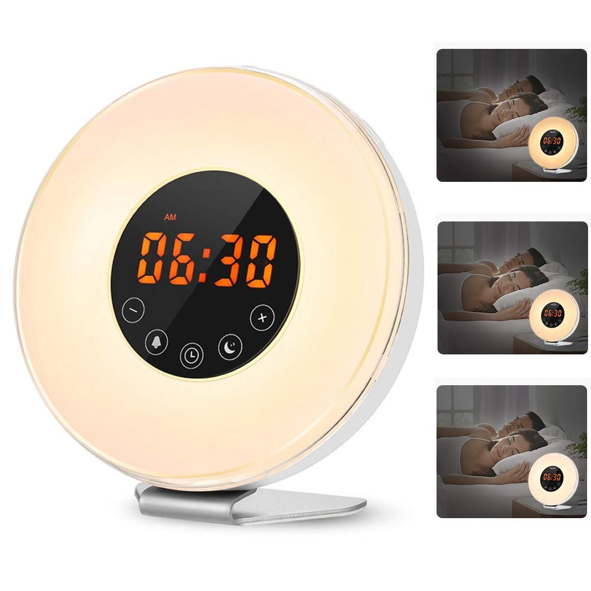 Apiker Sunrise Alarm Clock with Sunrise Simulation and Sunset Simulation Upgraded Version Bedside Colorful Night Light with Snooze Function Wake up Light 6 Nature Sounds FM Radio