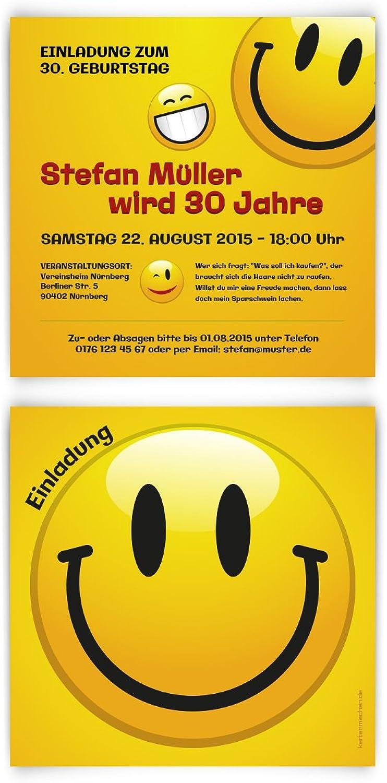 Einladungskarten zum Geburtstag (60 Stück) Smiley Gelb lächeln lustige Gesichter witzig B00PSBDEYU | Bekannt für seine hervorragende Qualität