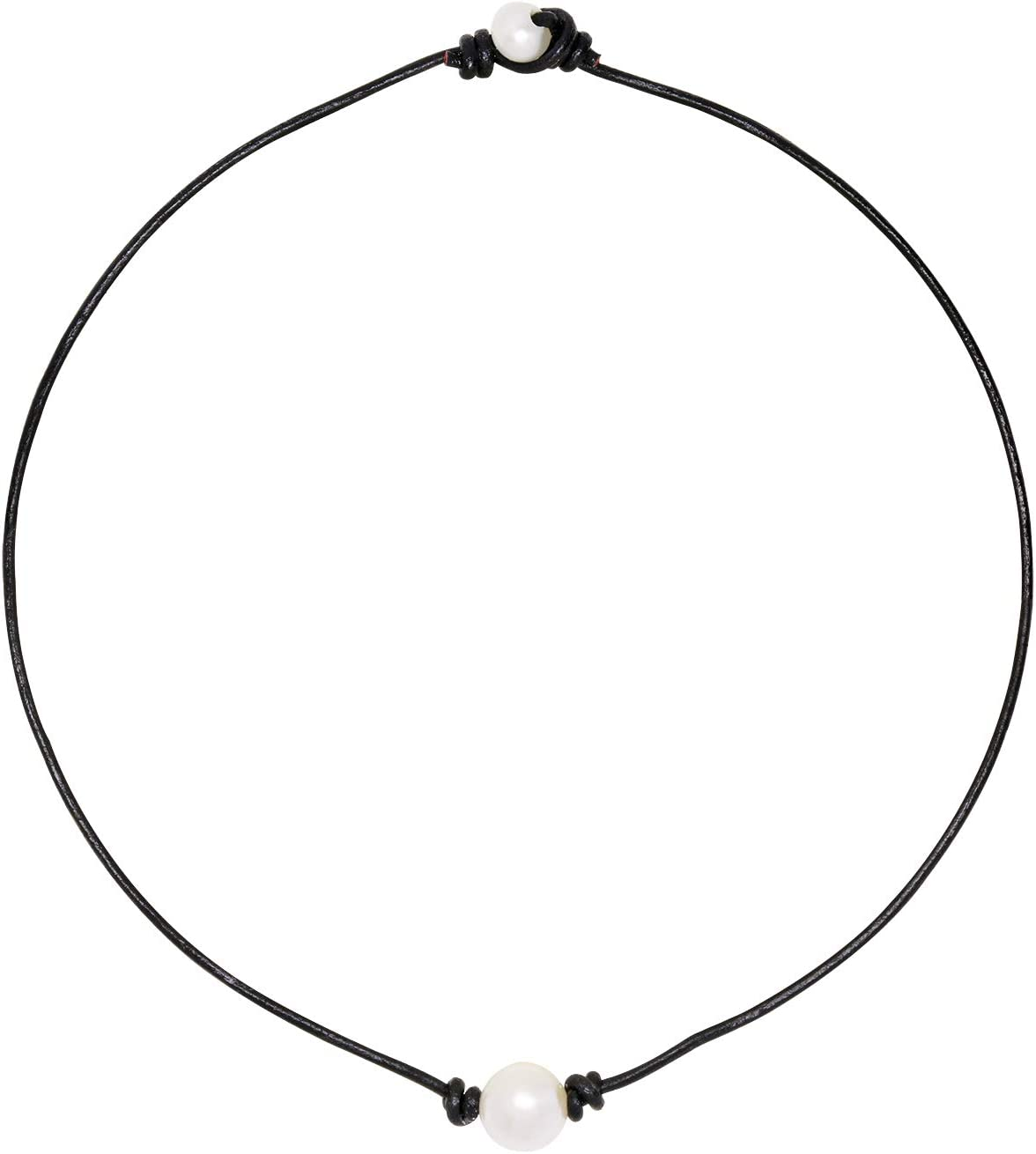 Penta Angel Single Pearl Bead Choker Necklace Natural White Freshwater Pearl Genuine Leather Cord Collar Necklace Chain Jewelry for Women Girls