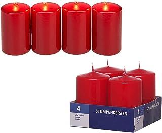Smart-Planet® - Juego de 4 velas de color rojo oscuro, velas decorativas de color burdeos, 8 cm de alto, 4,8 cm de diámetr...