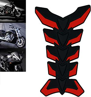 ROADMANSO Motorcycle Fuel Gas Tank Pad Protector 3D Rubber Sticker Decal Black and Red Fit for Harley-Davidson Honda Suzuki Yamaha