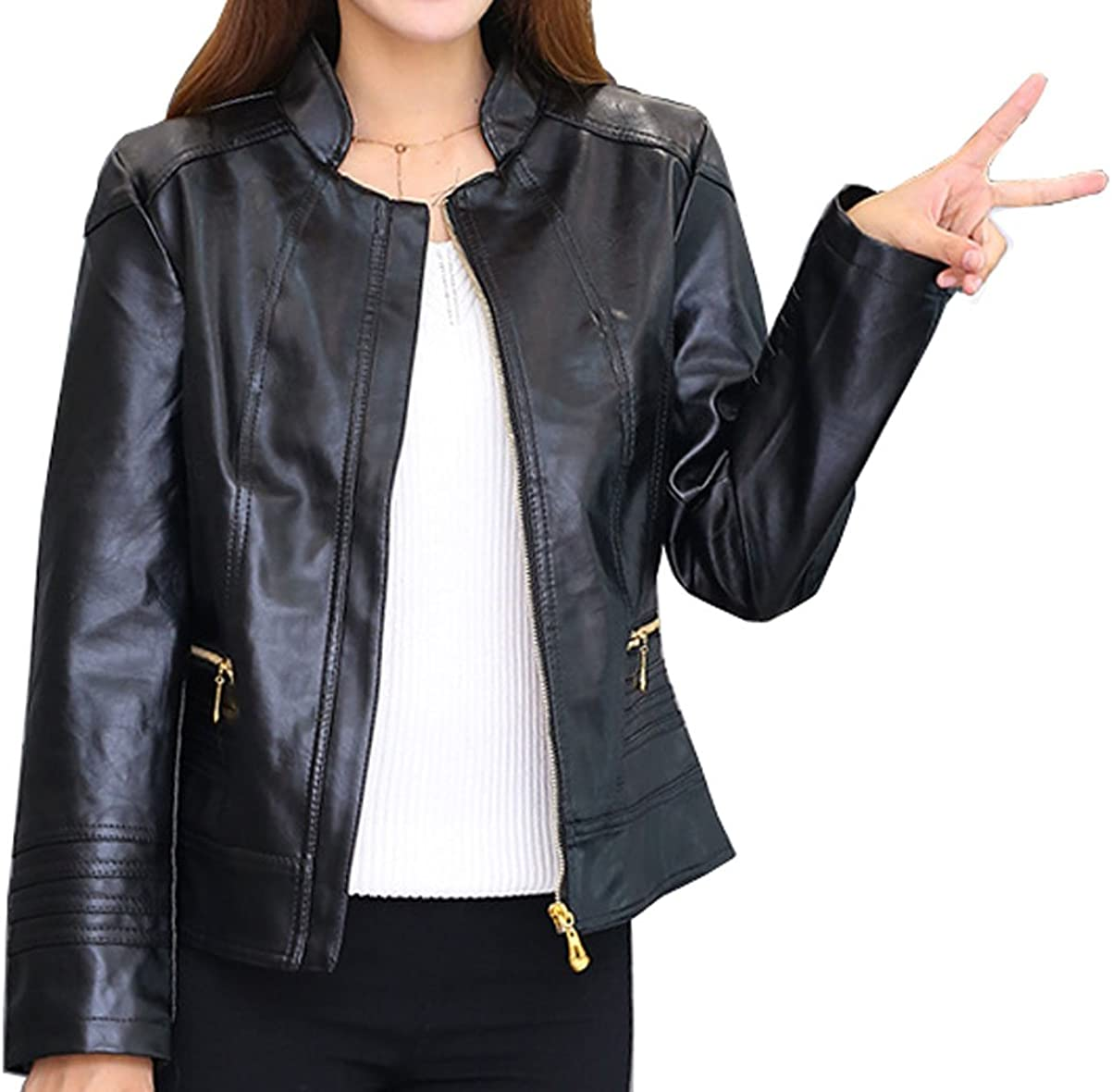 Qinni-shop Women Black,Red and Blue Faux Leather Stand Collar Short Fashion Jacket