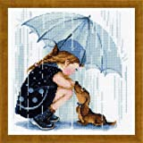 RIOLIS Under My Umbrella, Counted Cross Stitch Kit, 9.75' x 9.75', Zweigart 14ct. white AIDA, 18 colors