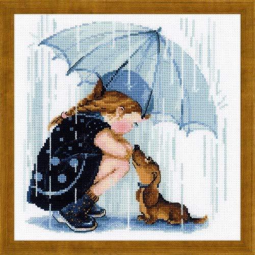 Riolis Unter meinem Regenschirm Kreuzstich-Set, Baumwolle, Mehrfarbig, 25 x 25 x 0.1 cm