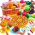 DigHeath Pretend Play Food Set,Kitchen Cutting Toys,BPA Free Plastic Fruits & Vegetables for Kids with Realistic Basket,Knife and Chopping Board,Best Children Educational Play Set from LTN