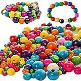 Abalorios para Hacer Pulseras,Liuer 1000PCS Conjunto de Cuentas de Colores Cuentas y Abalorios para Niños Hacer Joyas Collares Pulseras Pendiente Bisutería Regalo DIY