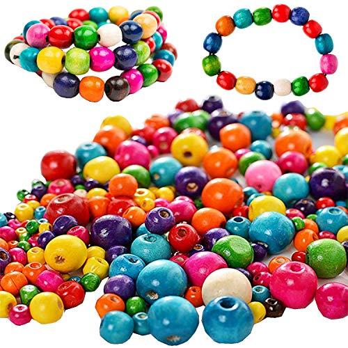 Liuer 1000PCS Enfants Bricolage Bois Ronde Perles Set Colliers Perles Kit de Fabrication Bijoux Bracelet Faisant comme Cadeau pour Les Filles Adultes Adolescents Femmes Accessoires (Mélange Couleurs)
