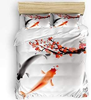 Sweet Comfort Dream 3 Pieces Duvet Cover Sets with Zipper, Sakura and Koi Fish Soft Bedding Sets for Adult Kids Japanese Decor Include 1 Comforter Cover and 2 Pillow Shams,Full Size