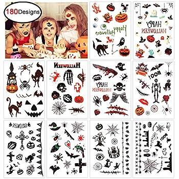 Konsait Halloween Temporary Tattoo for Kids  180 Designs  Children Party Tattoos for Boys Girls Halloween Trick or Treat Bags Party Bag Filler Toy - Vampire Pumpkin Bats Monster Witch Skull Spider