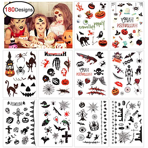 Konsait Halloween Temporary Tattoo for Kids (180 Designs), Children Party Tattoos for Boys Girls Halloween Trick or Treat Bags Party Bag Filler Toy - Vampire Pumpkin Bats Monster Witch Skull Spider