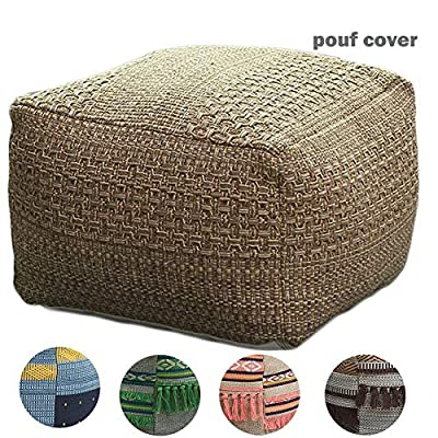 """idee-home Square Unstuffed Pouf Cover, Boho Pouf Ottoman Foot Rest, Cotton Woven Pouf for Living Room, Bedroom, Kids Room 16""""x16""""x12"""", Without Filler"""