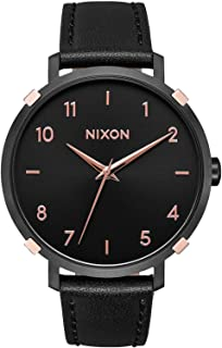 NIXON Arrow Leather A1091 - Black/Rose Gold/Cage - 50 Meter / 5 ATM Water Resistant Women's Analog Classic Watch (38mm Watch Face, 17.5mm Leather Band)