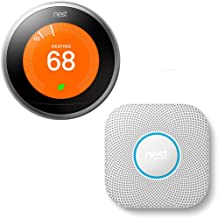 Nest T3007ES Learning Thermostat - 3rd Gen - (Stainless Steel) with Nest Protect Wired Smoke and Carbon Monoxide Alarm (Wh...