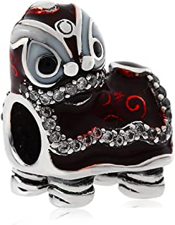 Animal Charms Chinese Lion Dance Charm 925 Sterling Silver Bead European 3mm Bracelet Jewelry