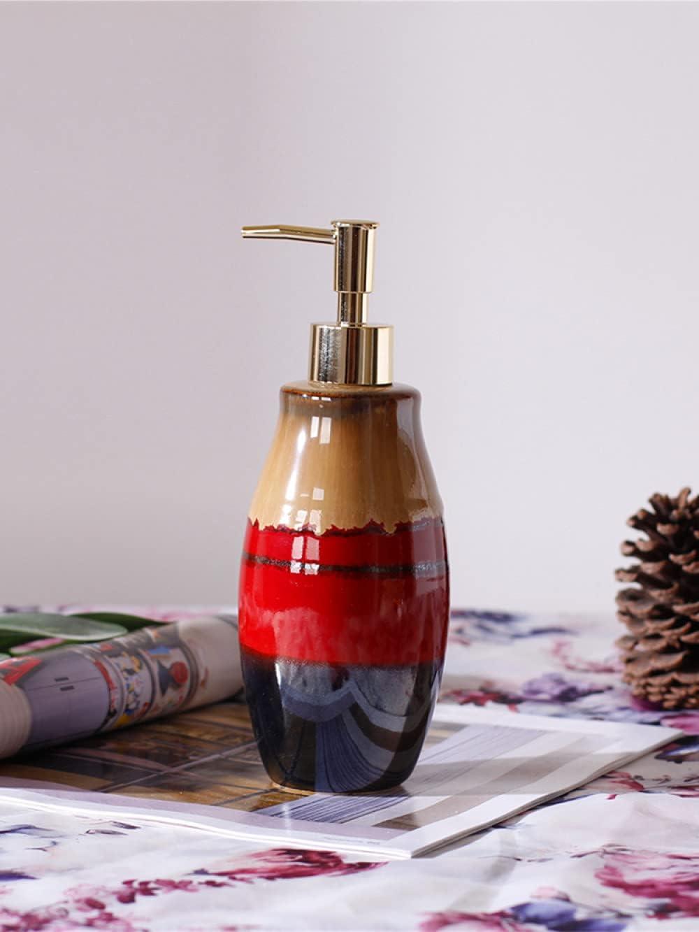 Lotion Dispenser,Vintage Brown Red Stitching Color Ceramics Loti