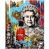 Graffiti Pop Art Reino Unido Reina británica Pintura en lienzo Carteles coloridos e impresiones Imágenes artísticas de pared Sala de estar Decoración para el hogar -60x80cmx1pcs- Sin marco