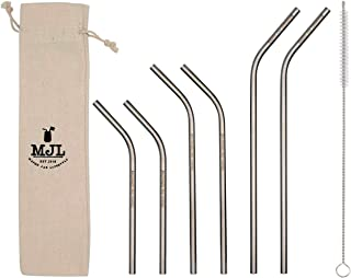 Combo Pack Thin Bent Stainless Steel Straws for Mason Jars (6 Pack + Cleaning Brush + Cloth Bag)