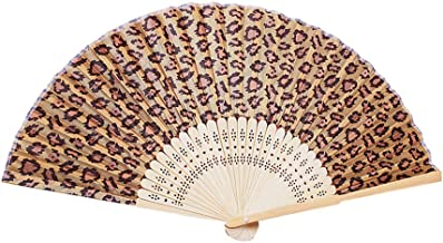 baidercor Leopard Print Fabric Bamboo Folding Handheld Hand Fan