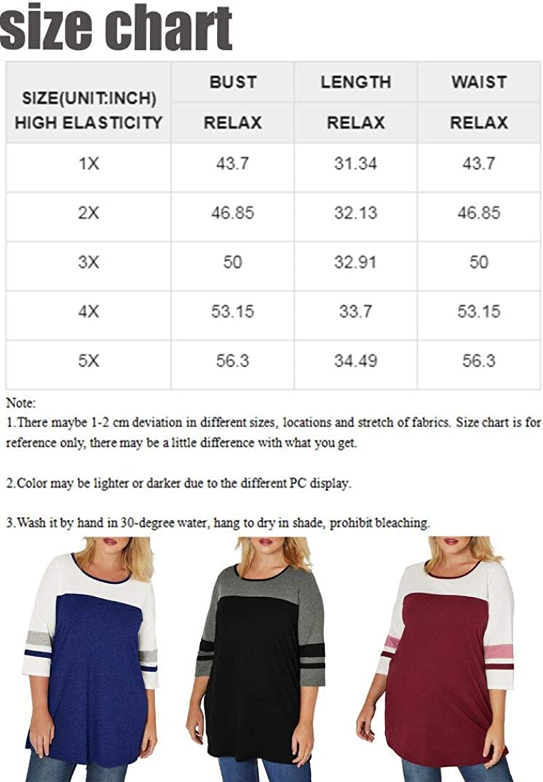 Happy Sailed Womens Plus Size Tops Casual Long Sleeve V Neck/Crew Neck Striped Loose Fit Tunic Tops(1X-5X)