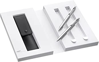 Lamy 1230494 Set Retractable Ball Pen and Mechanical Pencil with Leather Case in Gift Box M econ 240/140 Silver