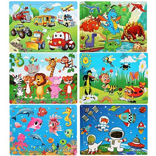 LEADSTAR Puzzles de Madera, 6x60 Piezas Jigsaw Wooden Puzzles Toy, Educativos Juguetes Bebes, Niños 3 4 5 6 7 8 Años, Dibujo Colorido con Placa, Aprendizaje Juguetes, Regalo de Cumpleaños, Navidad