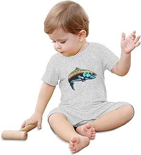 Rainbow Trout Fish Baby Climbing Clothing Baby Short Sleeve Garment Unisex Design Looks Great On Newborn Black