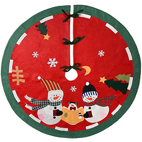 WeRChristmas–Pupazzo di neve Famiglia Albero di Natale gonna decorazione, Tessuto, Multicolore, 120cm, grande