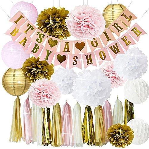 Rosa y oro Baby Shower Decoraciones para niña BABY SHOWER es una niña Garland Bunting Banner Papel de seda Pom Poms Flores Linternas de papel Paper Honeycomb Balls Papel de seda Borla Decoraciones par