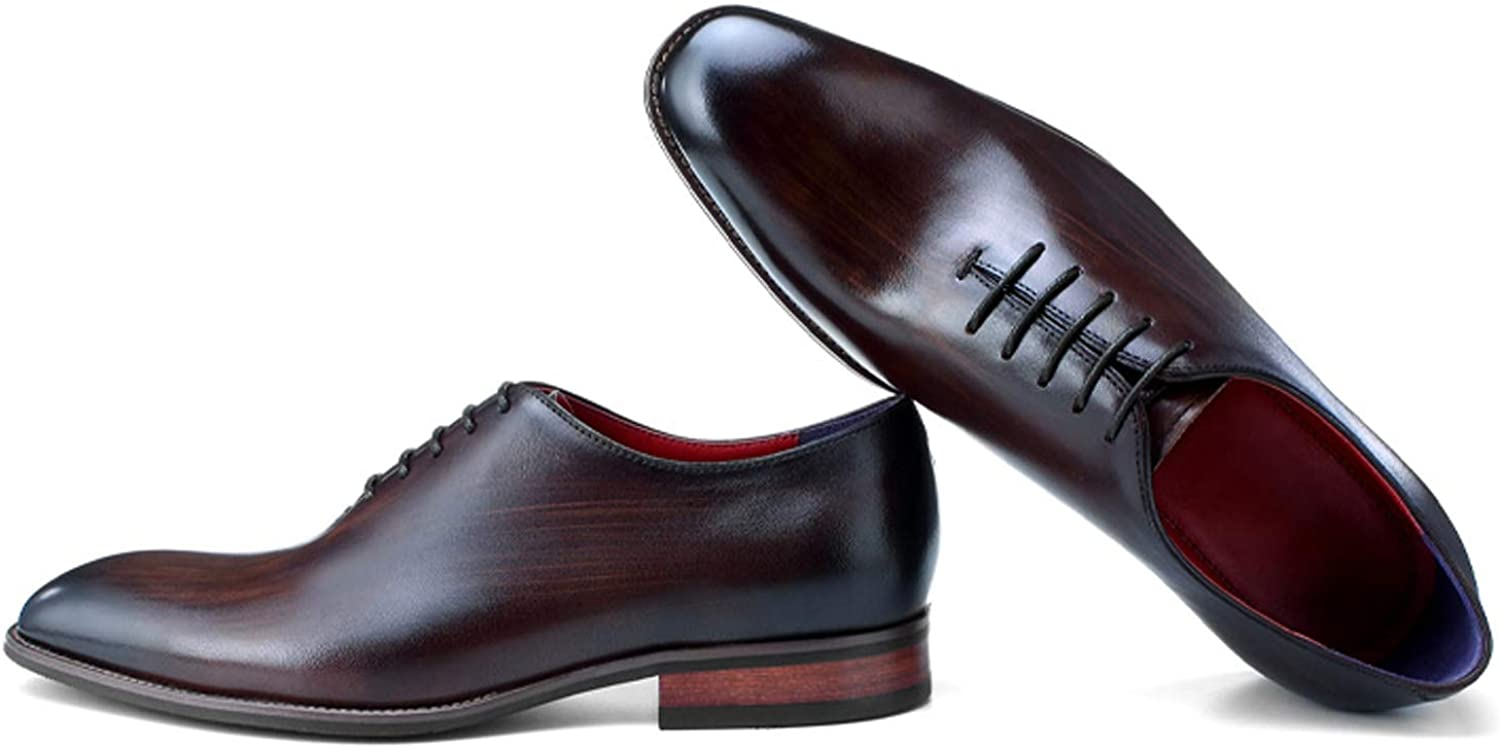 BONGZUO Sheepskin Leather shoes, Male Business Dress shoes Leather Handmade Brushed Glossy British Men shoes Winter New, YMCWG1891-3